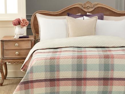 Calve Ön Yıkamalı Soft King Size Yatak Örtüsü - Indigo / Kırmızı
