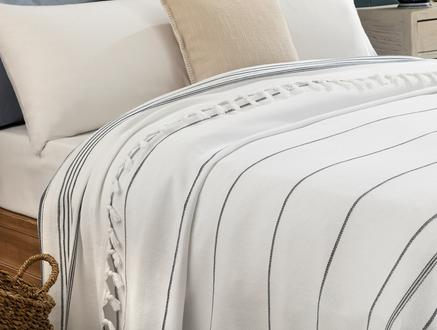 Alegron Yıkamalı Yatak Örtüsü - Beyaz / Indigo