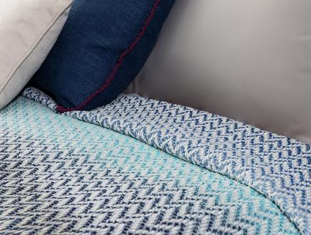 Allette Çift Kişilik Yatak Örtüsü - Mavi