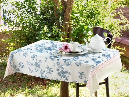 Laurette Tek Kullanımlık Masa Örtüsü - Indigo / Bej