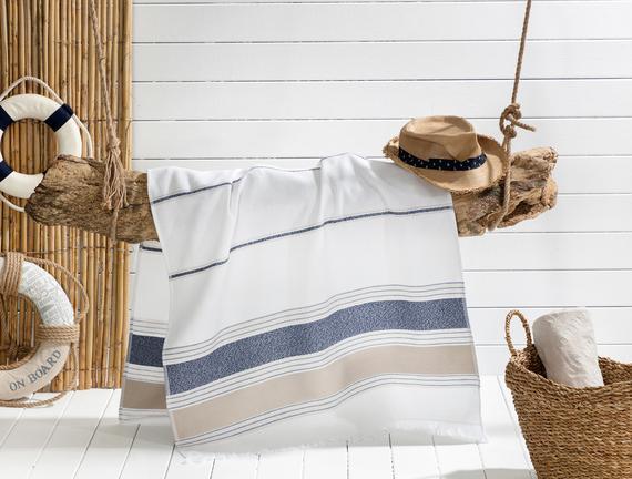 Cannes Armürlü Plaj Havlusu - Lacivert / Bej - 75x150 cm