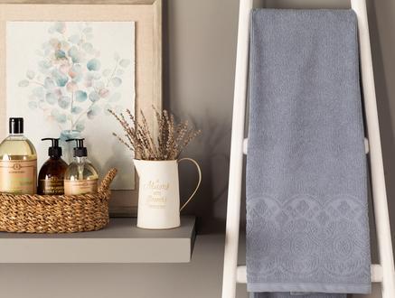Megeve Jakarlı  Banyo Havlusu - Açık Mavi
