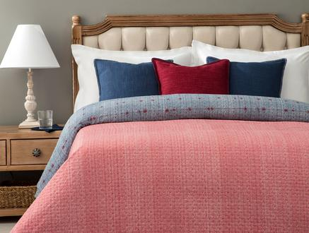 Ajaccio Tek Kişilik Çok Amaçlı Yatak Örtüsü - Lacivert / Kırmızı