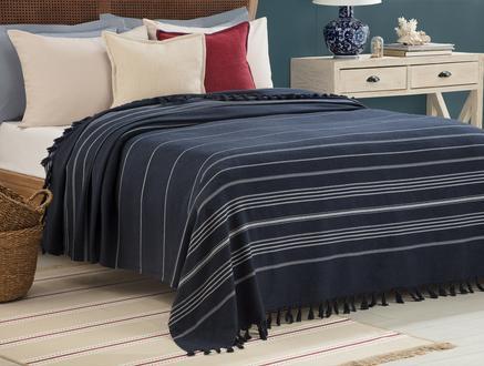 Alegron Yıkamalı Yatak Örtüsü - Indigo / Beyaz