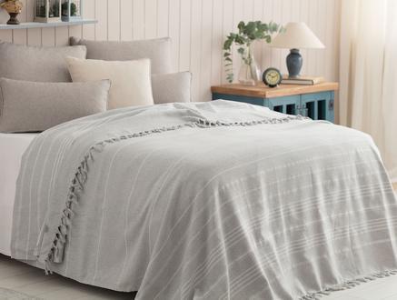 Alegron Tek Kişilik  Yıkamalı Yatak Örtüsü - Gri / Beyaz