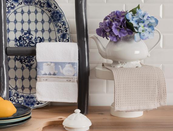 Carine Mutfak Havlu Seti - Beyaz / Bej - 40x60 cm