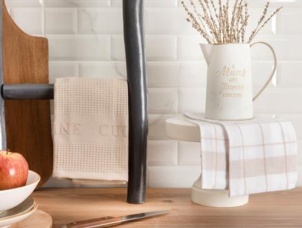 Adele Mutfak Havlu Seti - Beyaz / Bej - 40x60 cm