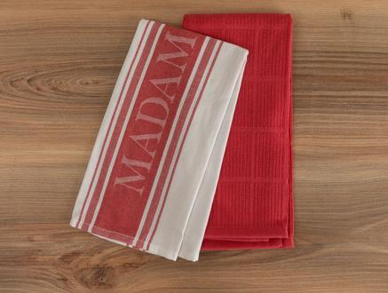 Eleanor Mutfak Havlu Seti - Beyaz / Kırmızı - 40x60 cm