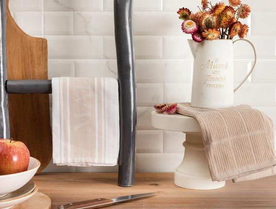 Eleanor Mutfak Havlu Seti - Beyaz / Bej