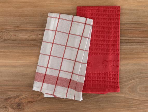 Adele Mutfak Havlu Seti - Beyaz / Kırmızı - 40x60 cm