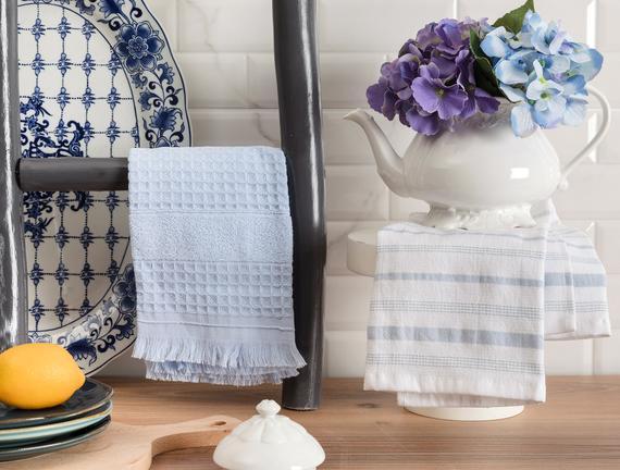 Gemma Mutfak Havlu Seti - Beyaz / Açık Mavi - 40x60 cm