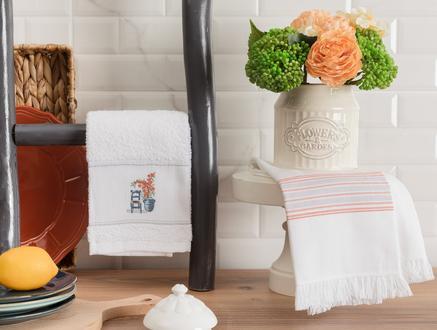 Raina Mutfak Havlu Seti - Beyaz / Gri - 40x60 cm