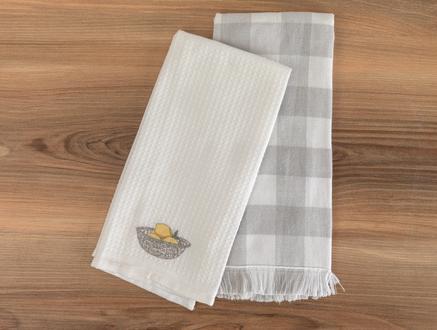Allaire Mutfak Havlu Seti - Beyaz / Gri - 40x60 cm