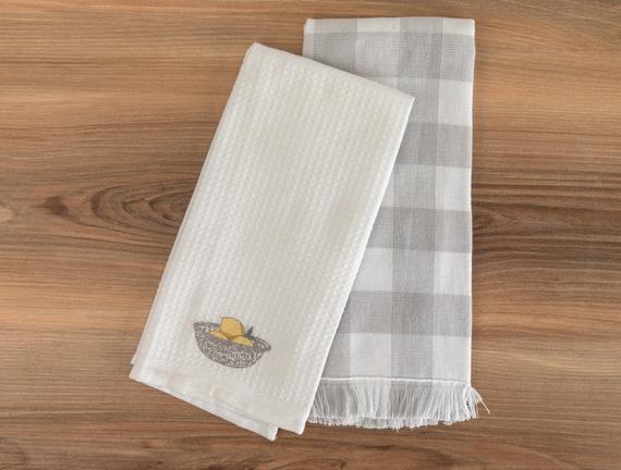 Allaire Mutfak Havlu Seti - Beyaz / Gri