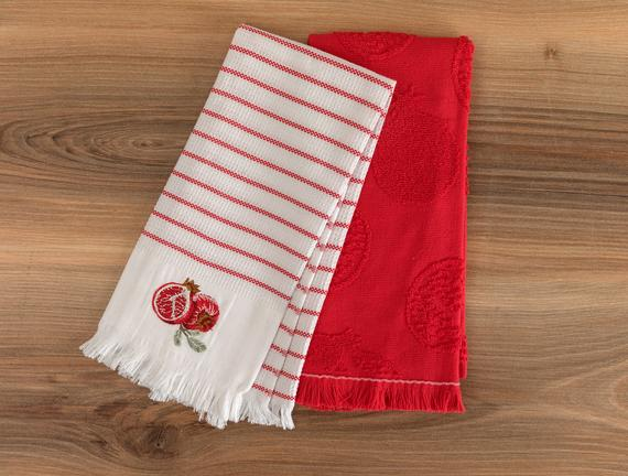 Mirabelle Mutfak Havlu Seti - Beyaz / Kırmızı - 40x60 cm