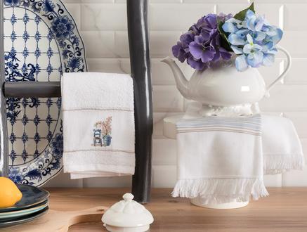 Raina Mutfak Havlu Seti - Beyaz / Mavi - 40x60 cm