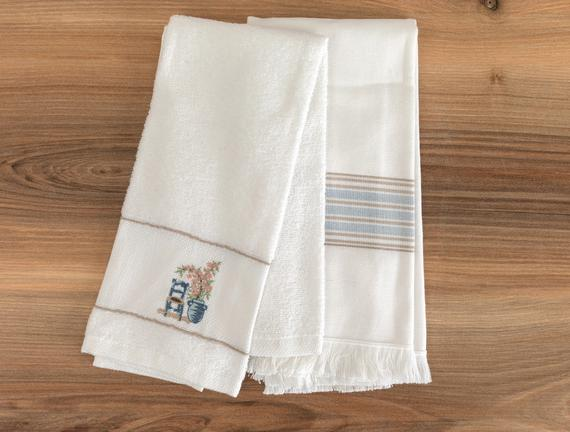 Raina Mutfak Havlu Seti - Beyaz / Mavi