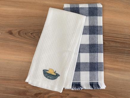 Allaire Mutfak Havlu Seti - Beyaz / Lacivert - 40x60 cm