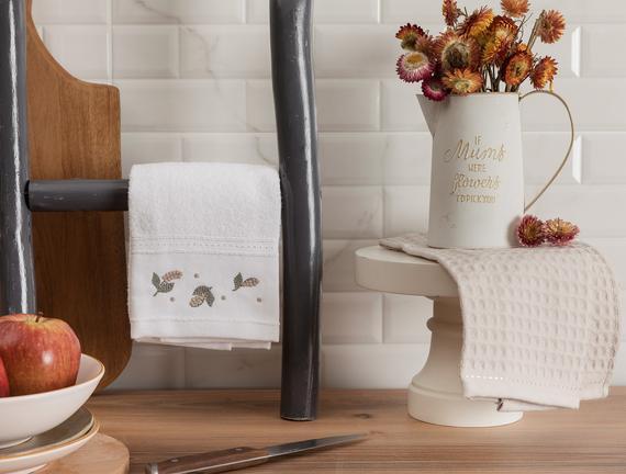 Garland Mutfak Havlu Seti - Beyaz / Bej