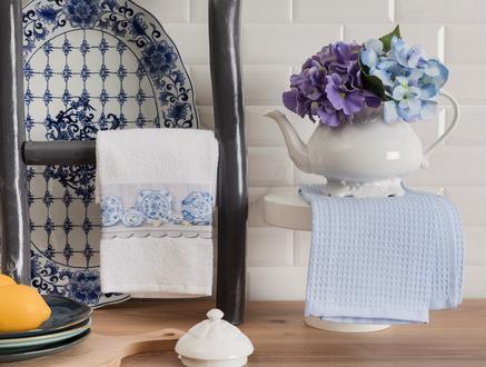 Aimée Mutfak Havlu Seti - Beyaz / Mavi - 40x60 cm