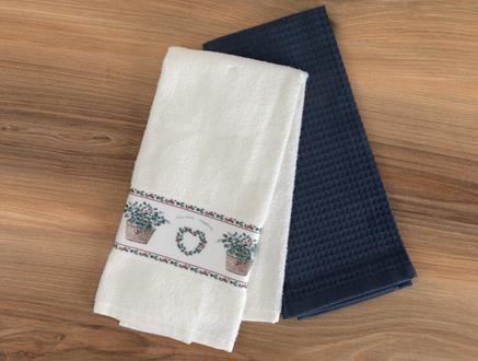 Cubella Mutfak Havlu Seti - Beyaz / Lacivert - 40x60 cm