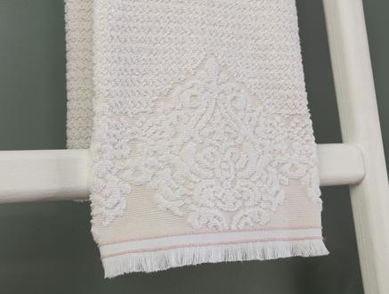 Gaufre Jakarlı Yüz Havlusu - Bej - 50x76 cm