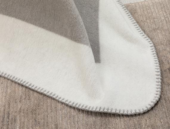 Mignonne Tek Kişilik Düz Pamuklu Battaniye - Kemik / Gri