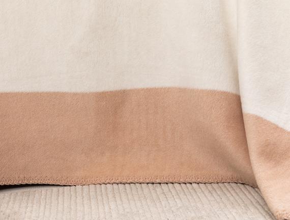 Mignonne Tek Kişilik Düz Pamuklu Battaniye - Kemik / Pudra