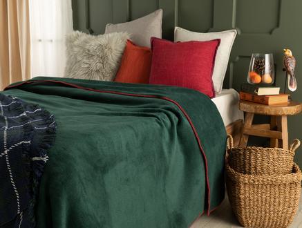 Étoile Çift Kişilik Düz Pamuklu Battaniye - Koyu Yeşil