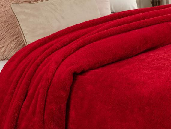 Estee Tek Kişilik Sherpa Düz Battaniye - Kırmızı