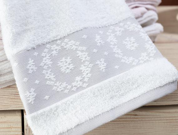 Chambre Bordürü Jakarlı Yüz Havlusu - Beyaz / Gri - 50x70 cm