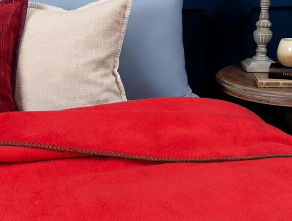 Étoile Düz Pamuklu Tek Kişilik Battaniye - Rot Kırmızı