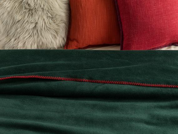 Étoiles Tek Kişilik Düz Pamuklu Battaniye - Koyu Yeşil