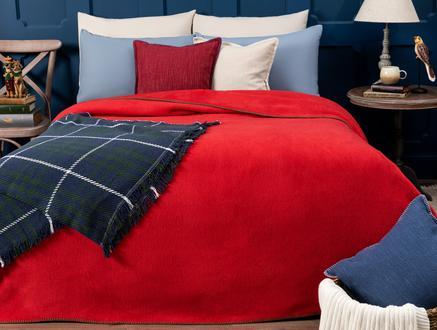 Étoile Çift Kişilik Düz Pamuklu Battaniye - Kırmızı