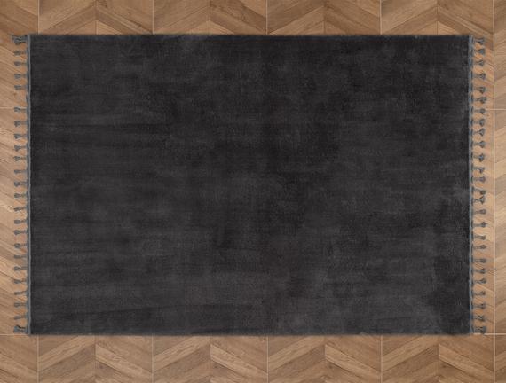 Carol Saçaklı Halı - Antrasit  - 160x230 cm