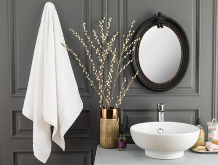 Maynor Bordürü Floşlu Banyo Havlusu - Beyaz