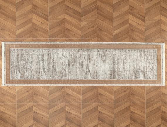 Audra İplik Boyalı Kadife Halı - Vizon 80x300 cm