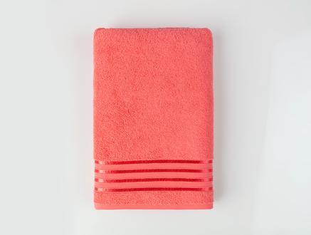 Maynor Bordürü Floşlu Banyo Havlusu - Koyu Pembe