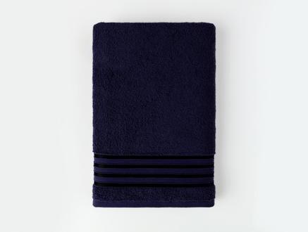 Maynor Bordürü Floşlu Banyo Havlusu - Lacivert - 70x140 cm