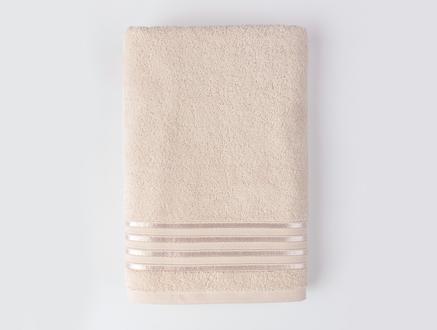 Maynor Bordürü Floşlu Banyo Havlusu - Bej