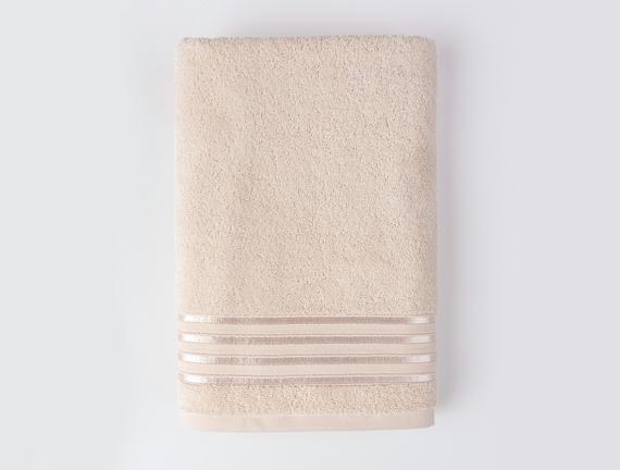 Maynor Bordürü Floşlu Banyo Havlusu - Bej - 70x140 cm