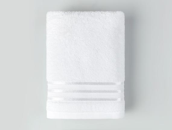 Maynor Bordürü Floşlu Yüz Havlusu - Beyaz