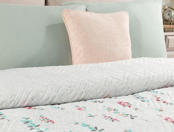 Zoe Çift Kişilik Çok Amaçlı Yatak Örtüsü - Beyaz / Gri