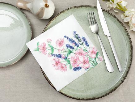 Çiçek Buketi Desenli Peçete - Kare