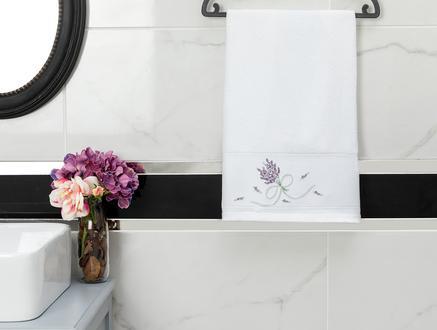 Trace Nakışlı Yüz Havlusu - Beyaz - 50x80 cm