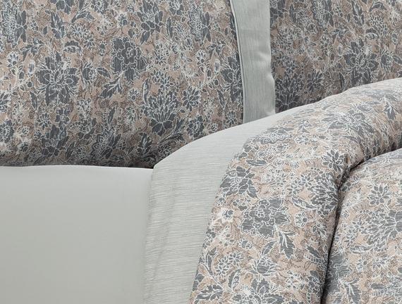 Tallis King Size Coco Crep Baskılı Nevresim Takımı - Gri