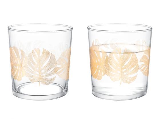 Pierretta-Golden Leaves 4'lü Su Bardağı Seti 380 ml