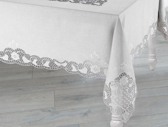 Flori Masa Örtüsü - Gri - 170x350 cm