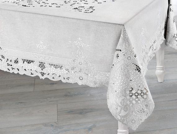 Evelia  Masa Örtüsü - Gri - 170x350 cm