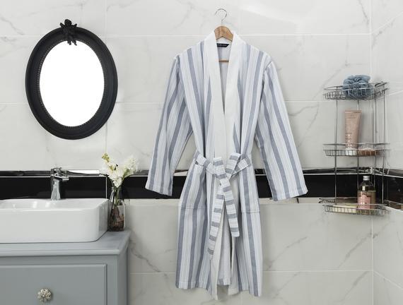 Odette Kimono Erkek Bornoz - Mavi
